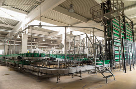 A conveyer belt with packs for beer is seen during production process in the  Molson Coors Kamenitza beer brewery, April 28, 2015, near the city of Haskovo, Bulgaria. Editorial