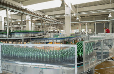 A conveyer belt with pasteurized beer in bottles is seen during production process in the Molson Coors Kamenitza brewery, April 28, 2015, near the city of Haskovo, Bulgaria. Editorial
