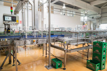 haskovo: A conveyer belt with packs for beer is seen during production process in the Molson Coors Kamenitza beer brewery, April 28, 2015, near the city of Haskovo, Bulgaria.