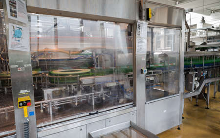 haskovo: A filling machine with beer bottles in it is seen during production process in the Molson Coors Kamenitza beer brewery, April 28, 2015, near the city of Haskovo, Bulgaria.