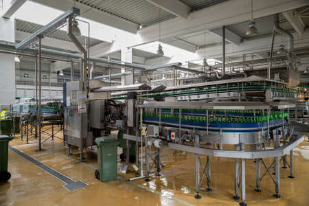 A conveyer belt with empty bottles for beer is seen during production process in the Molson Coors Kamenitza brewery, April 28, 2015, near the city of Haskovo, Bulgaria.
