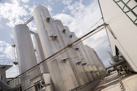molson: Beer processing and storage silos towers are seen in the Molson Coors Kamenitza brewery factory, April 28, 2015, near the city of Haskovo, Bulgaria.