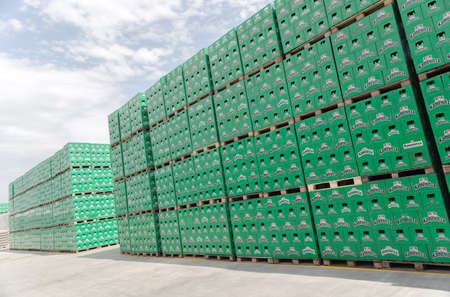 Packs with bottles Kamenitza beer are seen in the Molson Coors Kamenitza brewery storage lot, April 28, 2015, near the city of Haskovo, Bulgaria. Kamenitza brewery has been founded in 1881, and Molson Coors Brewing Company bought it in 2012.
