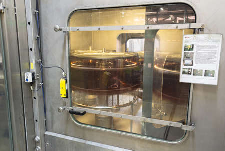 A filling machine with beer bottles in it is seen during production process in the Molson Coors Kamenitza beer brewery, April 28, 2015, near the city of Haskovo, Bulgaria.