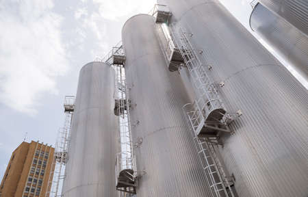 Beer processing and storage silos towers are seen in the Molson Coors Kamenitza brewery factory, April 28, 2015, near the city of Haskovo, Bulgaria.