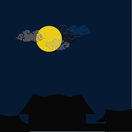 illustrators: dark full moon night Illustration