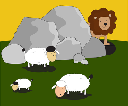 lion and lamb: vector animal lion hidding behind rocks looking sheep Illustration