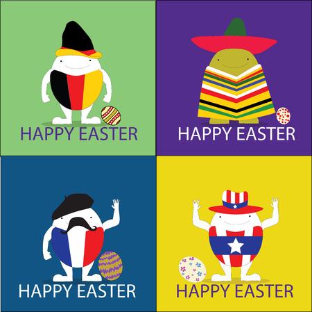 happy easter vector illustrator illustration eggs concept Vector
