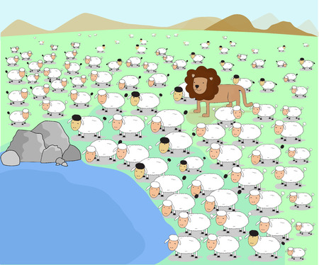 lion and lamb: vector illustrator animal lion herd sheep lamb pond