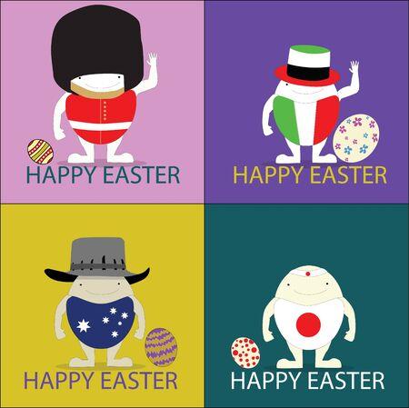 hid: Vector illustrator happy Easter eggs festival rabbit flower Illustration