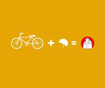 safty: Vector bicycle riding safety helmet campaign