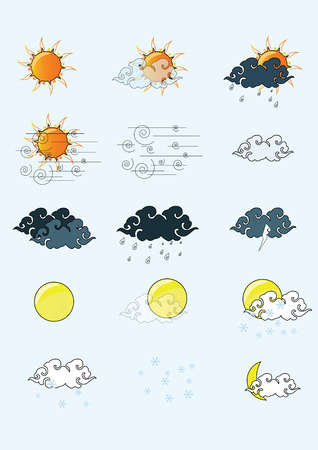 windy day: icon sun cloud weather illustrator Illustration