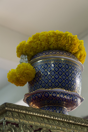 funeral parlor: urn ceramic bone sad respect dead Stock Photo