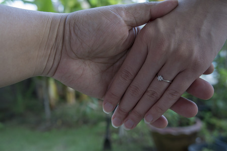 marry: love hand hold ring marry marriage finger Stock Photo