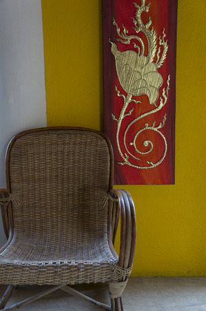 wall paint: chair wall paint yellow rest bamboo chair