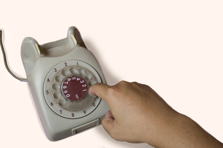 hangup: telephone antique analog phone working Stock Photo