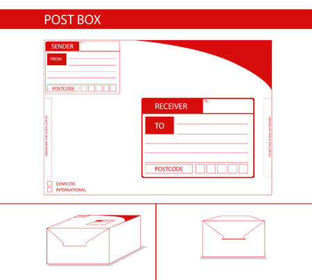 postoffice: parcel box package label red postman postoffice Illustration