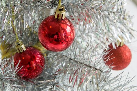 closedup: christmas tree part closed-up detail ball red Stock Photo