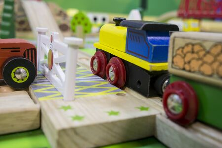 children play: toy traffic train playground children child play Stock Photo