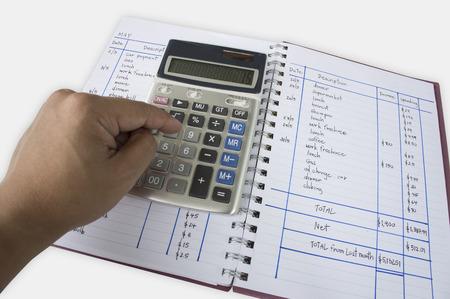 calculadora: contabilidad complemento c�lculo super�vit n�mero calculadora Foto de archivo