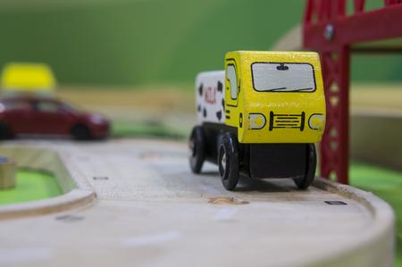 wood railroads: toy traffic train playground children child play Stock Photo