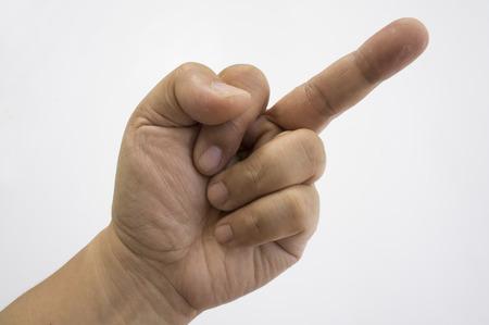 dedo �ndice: un hombre con un dedo medio levant� grosero Foto de archivo