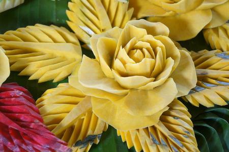 papaya flower: carved fruit vegetable art skill food Stock Photo