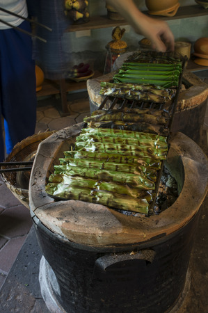 is based: sweet thai tradition food banana based grill burn