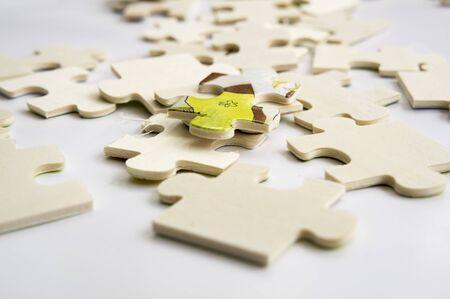 teamwork concept: abstract background jigsaw part decision teamwork