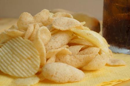 potato chip: potato chip drink soda fat cholesterol salted junk fast food