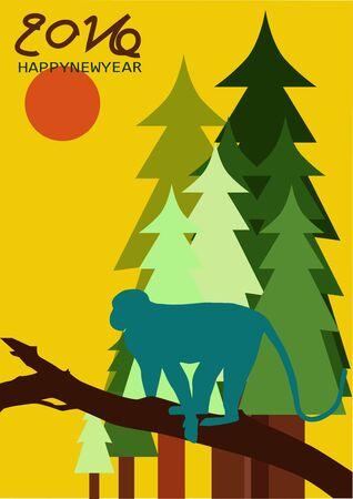 newyear: Newyear 2016 happy celebration snow vector Illustration