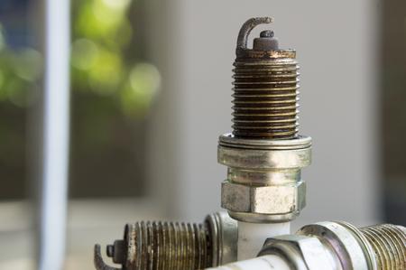 Spark plug plug combusion part mechanical Stock Photo