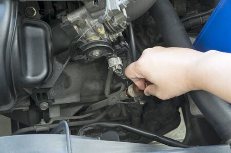 lubricant: dipstick lubricant car automobile auto motor mechanic Stock Photo