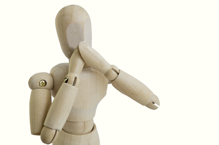 wooden figure: wooden figure concept no speak gesture  covered mouth