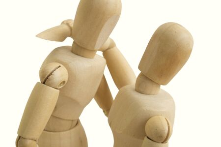 wooden figure: wooden figure hug love man and woman together