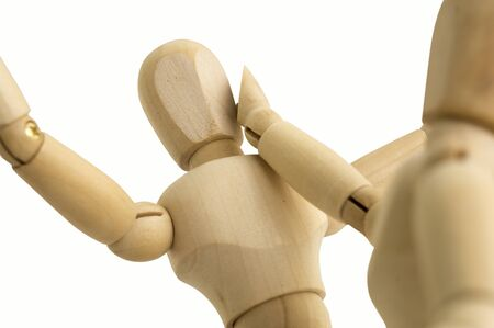 slap: wooden figure abuse hitting slap Stock Photo