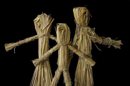 hay: human family figure made from hay