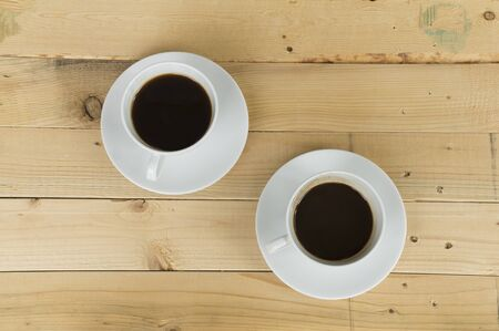 ceremic: two cup of coffee in morning Stock Photo