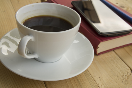 ceremic: cup of coffee in work morning Stock Photo
