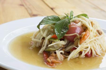 papaya salad somtum thai asian cuisine Stock Photo