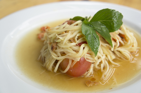 somtum: papaya salad somtum thai asian cuisine Stock Photo