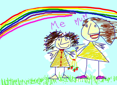 child drawing paint rainbow mother love