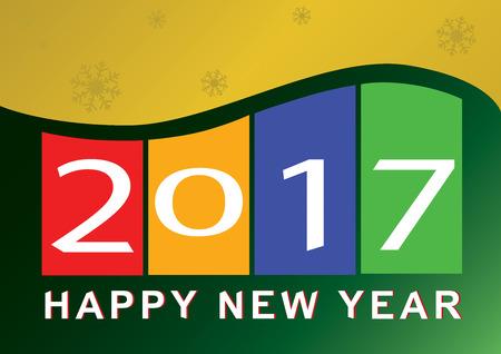 newyear: NewYear Season greeting 2017 illustrator Stock Photo