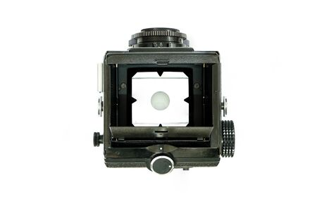 Top View of Twin Lens Reflex Camera or TLR Film Camera Isolate on White Background with White Background on Focus Screen Banque d'images