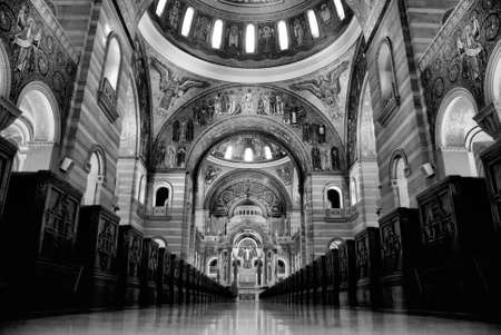 inside the st.louis basilica cathedral taken from a low angle.
