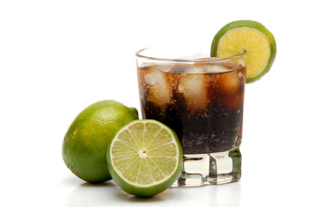 garnish: rum and coke with limes for garnish