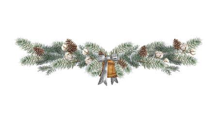 Set of christmas border design elements, floral garland Vektoros illusztráció