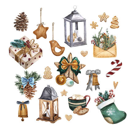 Bright watercolor Merry Christmas set of traditional decor and elements. Lamp, decoration, cookies, cocoa, gifts, coffee, candy, lantern and plants. Elements of a Christmas mood on a white background.