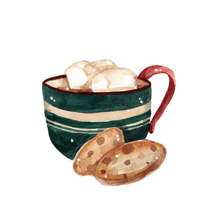 Christmas green cup of coffee with cookies. illustration for cards, leaflets or banners on white background Vektoros illusztráció
