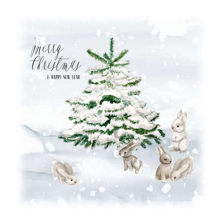 Watercolor Christmas Tree with bunny and snow. Minimalstic elegant Holiday Design Template. Handdrawn card with text - Merry christmas and happy new year.